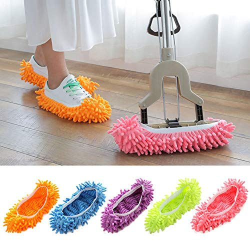 Hoocozi 10PCS Dust Duster Mop Slippers Shoes Cover Floor Slippers Soft Washable Reusable Microfiber Foot Socks Floor Cleaning Tools Shoe Cover