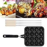 Takoyaki Pan Cast Iron - Non-Stick Takoyaki Grill Pan Plate Cooking Baking Mold Tray