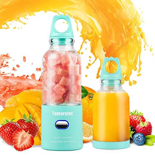 Tragbarer Mixer mit Dual Plastik 500 ml (16,9 Unzen) Flaschen, Tomorotec wiederaufladbarer persönlicher Reisemixer, Saftbecher für Smoothies, Milchshake, Obstmixer, Wasserdichter USB Saftpresse (Blau)
