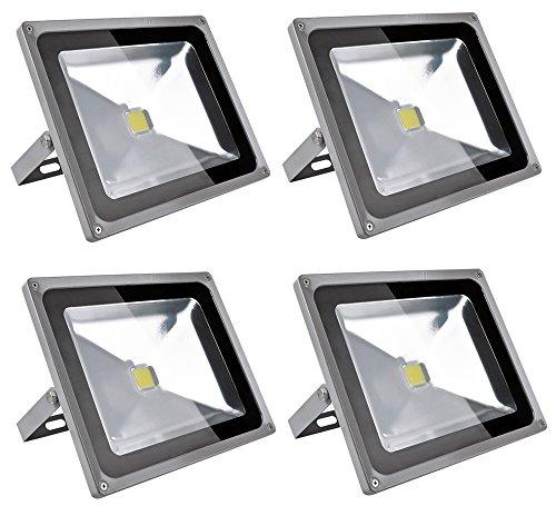 Leetop 4X 50W LED Strahler Kaltweiß Fluter Licht Scheinwerfer Außenstrahler Wandstrahler Aluminium IP65 Wasserdicht