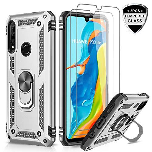 LeYi für Huawei P30 Lite Hülle mit Panzerglas Schutzfolie(2 Stück),360 Grad Ring Halter Handy Hüllen TPU Stoßdämpfung Cover Magnetische Bumper Case Schutzhülle für Handyhülle Huawei P30 Lite Silber