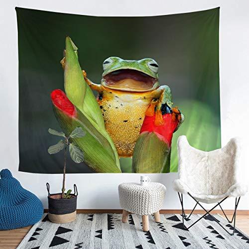 Tapiz para colgar en la pared, diseño de rana de animales tropicales para niños y niñas y niños en 3D, manta de pared verde con temática de la naturaleza, manta grande de 122 x 179 cm