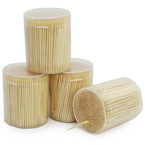 com-four® 2000x Zahnstocher aus Holz - Zahnhölzer für den täglichen Gebrauch - Toothpicks in Spenderbox - hölzerne Zahnstecher - 6,3 cm (2000 Stück - Set4)
