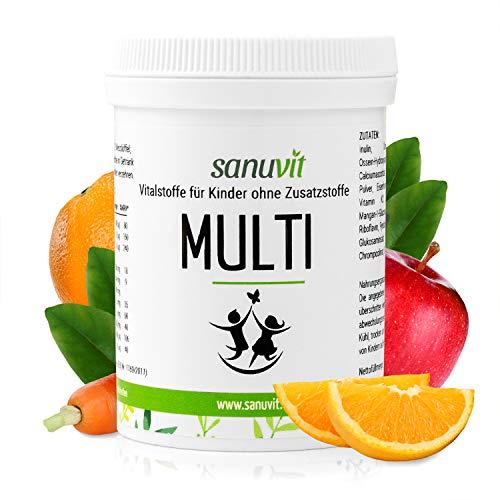 Sanuvit Kinder Multivitamin-Fruchtpulver/Vitamine und Mineralstoffe als leckere und zuckerfreie Fruchtmischung, speziell entwickelt für Kinder, 120g-Dose