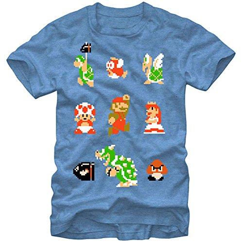 Nintendo Men's Early Crew T-Shirt, Light Blue Heather, Small