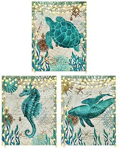 3 Pieces Sea Life Prints Wall Art Sea Animal Painting Prints Bathroom Turtle Seahorse Whale product image
