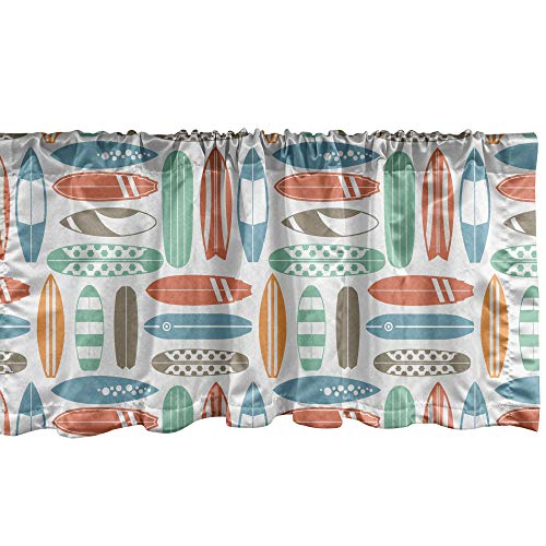 """Ambesonne Surfboard Window Valance, Colorful Surfing Sea Pattern with Summer Travel Illustration in Retro Colors, Curtain Valance for Kitchen Bedroom Decor with Rod Pocket, 54"""" X 12"""", Coral Orange"""