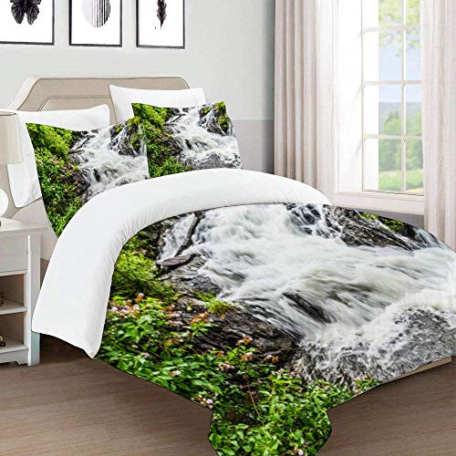 966 Bettbezug-Set für Bettwäsche, fliederfarbener Busch mit violetten Blumen von Waterfall in Camden Maine, Bettbezug aus Mikrofaser, 220 x 240 cm mit 2 Kissenbezügen 50 x 80 cm