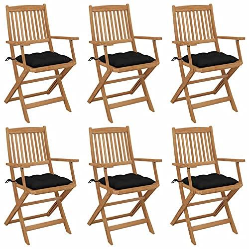 Tidyard 6X Sillas de Jardín Plegables con Cojines Sillón Asiento Mobiliario Balcón Patio Piscina Playa Terraza Exterior Muebles Estable Madera Maciza Acacia Negro