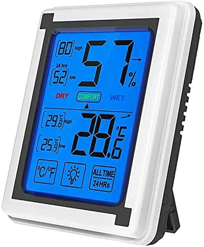Higrómetro LCD Digital Termómetro Temperatura Interior Monitor de Humedad con luz de Fondo Pantalla táctil Humedad Medidor de Temperatura