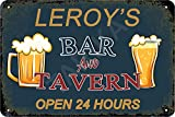 Tarika Leroy's Bar and Tavern Open 24 Hour Affiche de Fer Vintage Peinture étain Signe pour Rue Garage Maison café Bar Homme Grotte Ferme décoration Murale Artisanat