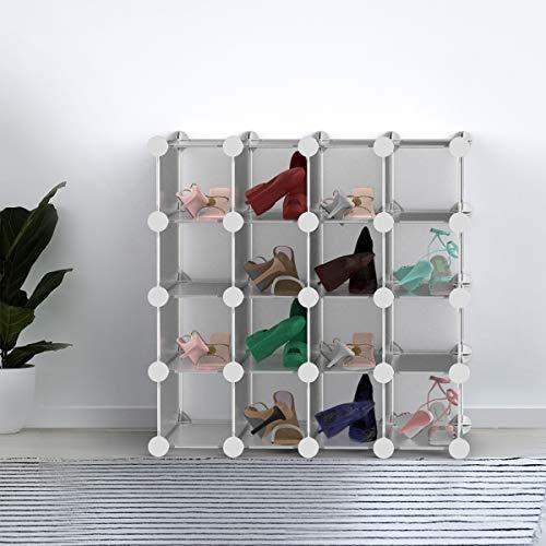 Lavish Home 16 Piece Interlocking Cubby – Customizable and Stackable Modular Plastic Shoe Organizer Shelf and Closet Storage Bin System, Light Grey