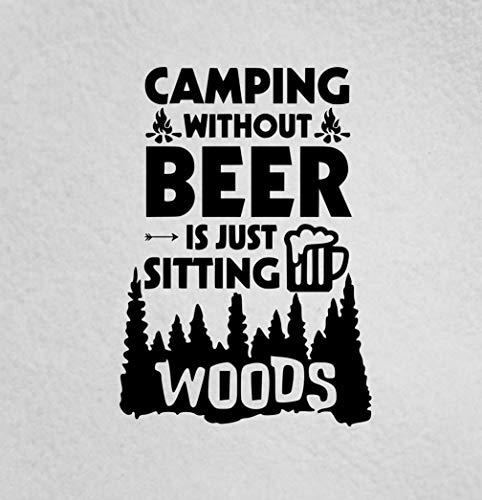 Lplpol Premium Anti-Staub-Vinyl-Aufkleber Camping ohne Bier ist nur im Wald sitzend, Outdoor, Camping, Wohnmobil, Boot, Auto, Fenster, Laptop, 15,2 cm (6 Zoll)