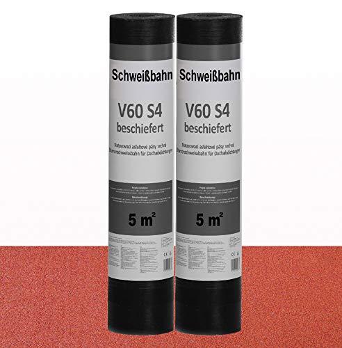 Schweißbahn V60 S4 beschiefert 2 x 5m² ROT Bitumenbahn Dachbahn Dachpappe