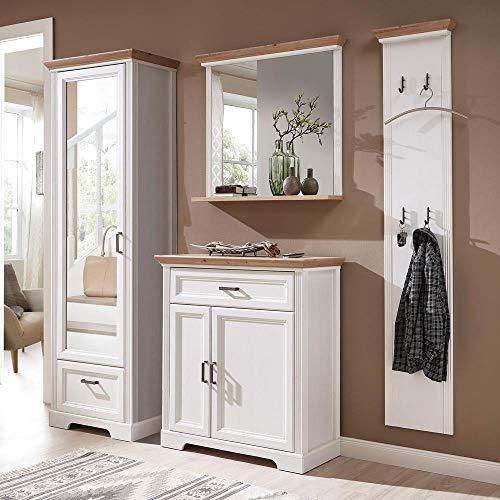 Lomadox Landhaus Flur-Garderoben-Set in Pinie weiß mit Artisan Eiche inkl. Garderobenspiegel