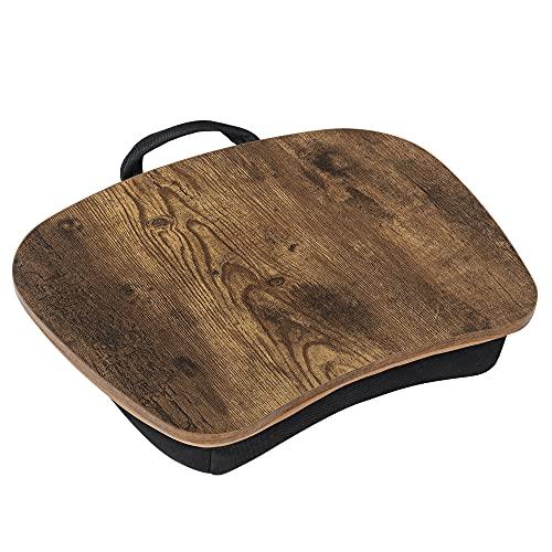 SONGMICS Laptopkissen für Bett, Laptoptisch, Laptopunterlage, mit Handgriff, gepolsterter Unterlage, mit Rille für Handy und Tablet, 40 x 32 x 8 cm (L x B x H), vintagebraun LLD109B01