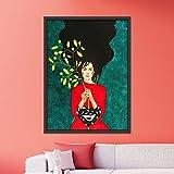 N / A Pintura sin Marco Carácter nórdico Pintura de Personajes Modernos sobre Lienzo Arte Abstracto póster Chica Sala de Estar Dormitorio artZGQ5022 50X70cm