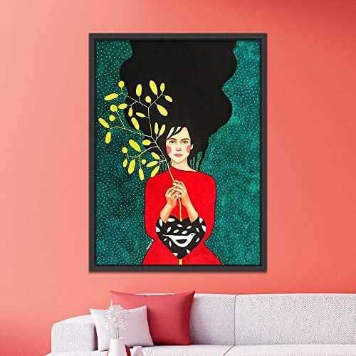 N / A Rahmenlose Malerei Nordische Figur Moderne Charaktermalerei auf Leinwand Kunst abstraktes Plakat Mädchen Wohnzimmer Schlafzimmer artZGQ5021 40X50cm