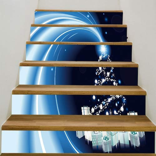 WZhen Christmas Tree Starlight Gifts Pattern Stair Stickers - Blue 6Pcs:39 * 7 Inch(No Frame)