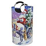 ZCHW Wäschekörbe Weihnachtsmann in Kutsche Pferd Schnee gedruckt bedruckbar Faltbarer Wäschekorb,...