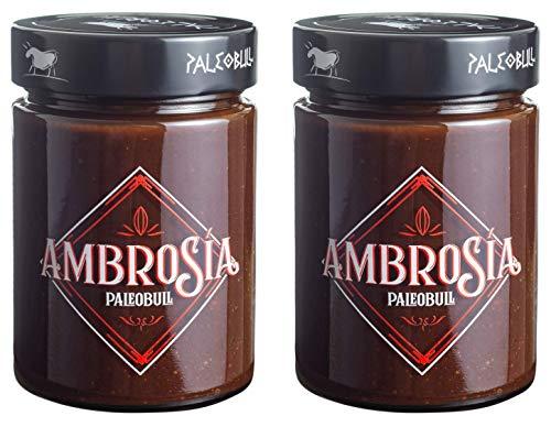Crema de Cacao y Avellanas Saludable Ambrosía - Sin Azúcar Añadido, Sin Edulcorantes, Sin Aceite de Palma, Sin Aceite de Girasol, Con AOVE y Más del 25% de Avellanas - Pack 2x300 g