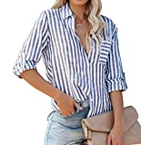 R.Vivimos Women's Fall Cotton Long Sleeves Roll Up Striped Casual V Neck Button Down Shirts Blouses (Small, Blue)