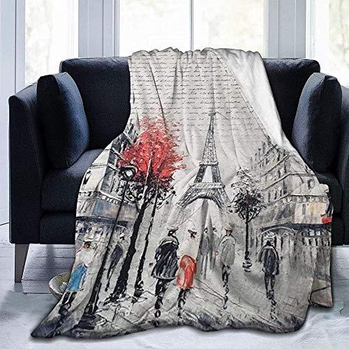 DWgatan Couverture,Paris Street Tour Eiffel Peinture Imprimé Couverture en Peluche en Microfibre pour Chambre Salon Canapé Lit Canapé pour Enfants Adultes -60\