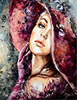 大人のための数字によるDIYペイント初心者の子供、レトロなファッションの女性16x20インチのリネンキャンバスアクリルストレス少ない数字の絵画ギフト(女性、フレームなし)