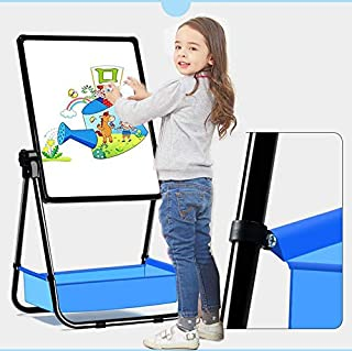 Wooden Kids Easel Art Easel with Paper Roll Double-Sided Whiteboard & Chalkboard Standing Easel with Bonus Magnetics, Numbers, Paint Cups and Other Accessories for Kids,Tollders, Boys Girls (Black)