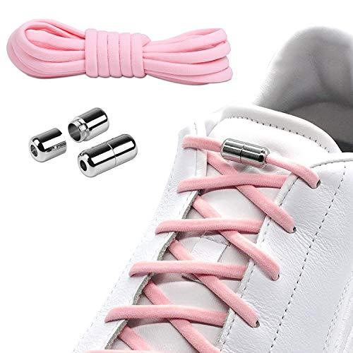 Elastische Schnürsenkel 100cm,Schuhe binden mit Metallkapsel,Schnellschnürsystem Ohne Binden,Schnürsenkel mit Metallverschluss für Kinder Senioren Schuhe Arbeitsschuhe das Flache Sneaker(Rosa)