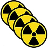 Outdoor/Indoor (4 Pack) 4' X 4' Radiation Nuclear Symbol Danger Safety Warning Sign Label Sticker Decal - Back Self Adhesive Vinyl