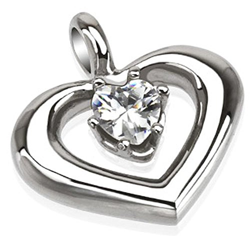 Bungsa® Herz mit Kristall Stein Halskettenanhänger Edelstahl Silber (Kettenanhänger Pendant Anhänger Charm Beads Chirurgenstahl Damen Herren Schmuck)
