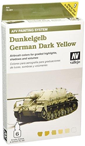 Vallejo 078401 Farbset, Deutsch, 6x8 ml, Dunkel-Gelb