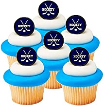 Hockey Easy Toppers Cupcake Decoration Rings -12pk