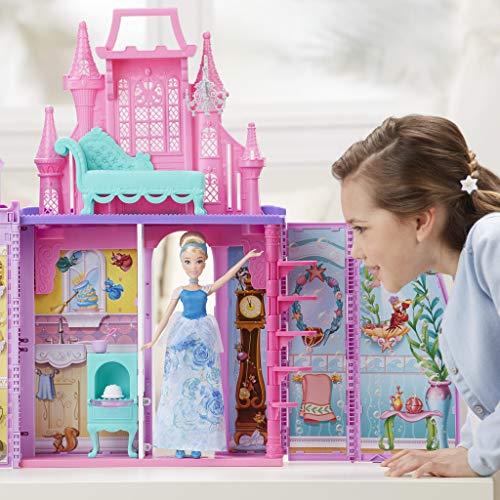 Disney Princess - Castillo Maletín + Cenicienta Brillo Real, Multicolor