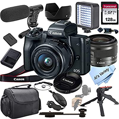 Canon EOS M50 Mirrorless Digital Camera Video Kit with 15-45mm Zoom Lens + Shot-Gun Microphone + LED Always on Light+ 128GB Card, Gripod, Case, and More (18pc Video Bundle) from Al's Variety-Canon intl.