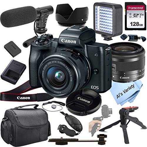 Canon EOS M50 Mirrorless Digital Camera Video Kit with 15-45mm Zoom Lens + Shot-Gun Microphone 6 + LED Always on Light+ 128GB Card, Gripod, Case, and More (18pc Video Bundle)