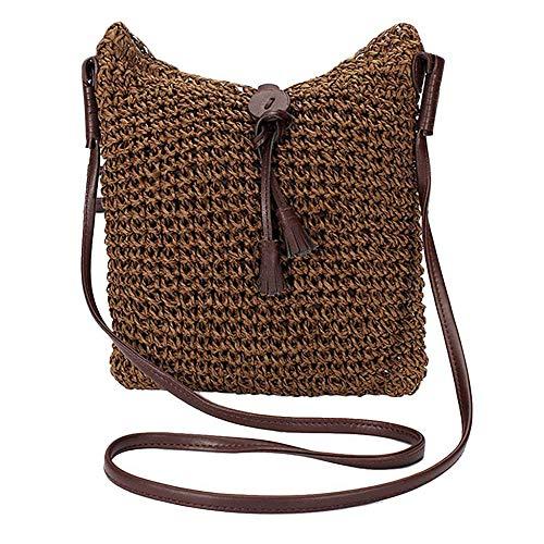 Fliyeong - Bolsa de Ganchillo para Verano, Bolsa de Playa, Hecha a Mano, Bolsa de Paja, Bolsa de Mensajero para Mujer, 1 Unidad, Creativa y útil
