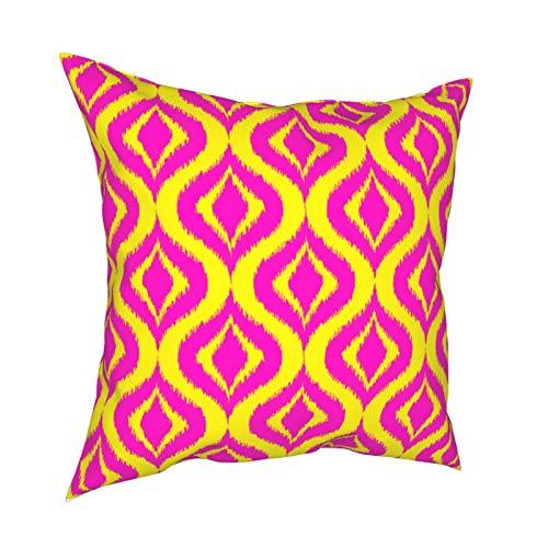 Funda de cojín para sofá, decoración para el hogar, diseño bohemio de Ikat, color amarillo y rosa intenso, ideal como regalo para el hogar, fundas de cojín con cremallera, 45,7 x 45,7 cm
