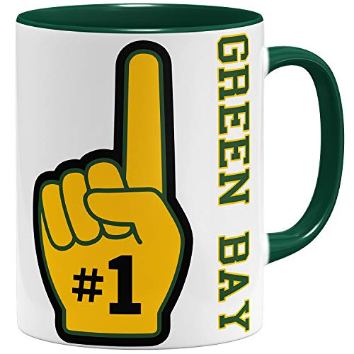 OM3 Number One #1 Green Bay - Tasse | Keramik Becher | 11oz 325ml | Beidseitig Bedruckt | Grün