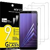 NEW'C 3 Stück, PanzerglasFolie Schutzfolie für Samsung Galaxy A8 2018, Frei von Kratzern Fingabdrücken & Öl, 9H Festigkeit, HD Bildschirmschutzfolie, 0.33mm Ultra-klar, Ultrawiderstandsfähig