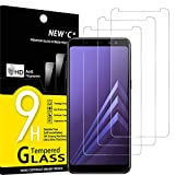 NEW'C 3 Unidades, Protector de Pantalla para Samsung Galaxy A8 (2018), Antiarañazos, Antihuellas, Sin Burbujas, Dureza 9H, 0.33 mm Ultra Transparente, Vidrio Templado Ultra Resistente