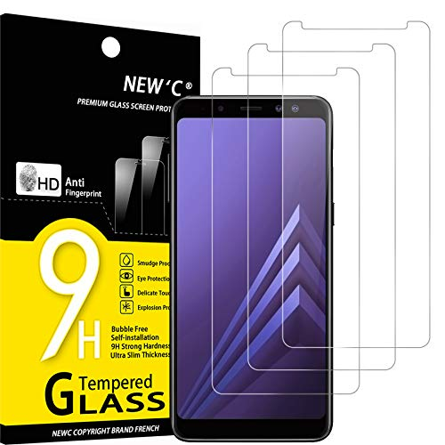 NEW'C Lot de 3, Verre Trempé Compatible avec Samsung Galaxy A8 (2018), Film Protection écran sans Bulles d'air Ultra Résistant (0,33mm HD Ultra Transparent) Dureté 9H Glass