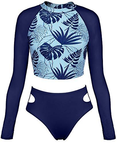 ATTRACO Women Swim Shirt Long Sleeve Swimsuits Rash Guard Crop Top Two Piece UPF 50 L