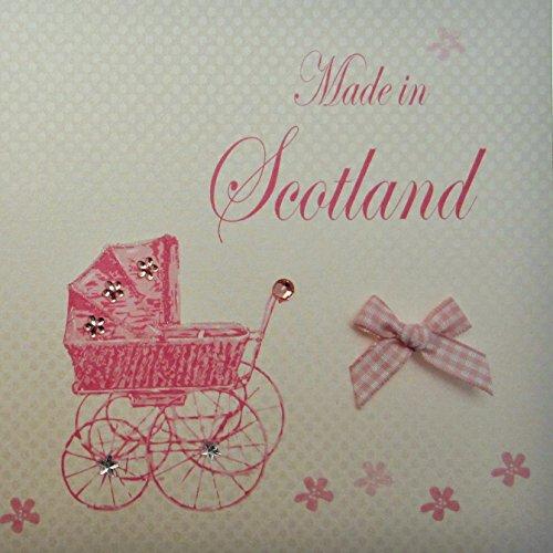 Wit katoen gemaakt in Schotland handgemaakte baby Town kaart met roze kinderwagen
