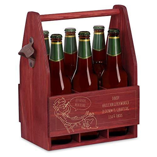 Murrano Bierträger für 6 Flaschen 0,5L + Gravur - Männerhandtasche mit Flaschenöffner - Größe: 25x17x32cm - aus Holz - Geschenk für Männer zum Geburtstag - Zeit für Bier