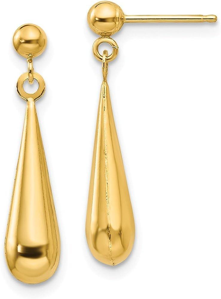 Solid 14k Yellow Gold Tear Drop Dangle Studs Earrings (22mm x 4mm)