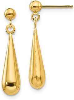14k Yellow Gold Teardrop Drop Dangle Chandelier Post Stud Earrings Fine Jewelry Gifts For Women For Her