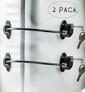 2 Pack Refrigerator Door Locks,Freezer Door Locks,File Drawer Cabinet Locks by REZIPO Black with 4 keys