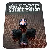 Garage-SixtySix 4 Tappi per Valvole, modello Chicago, nero, motivo: Regno Unito